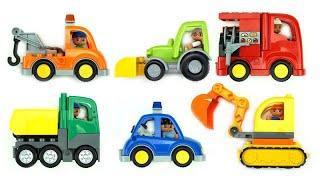 مركبات الشوارع للأطفا   حفار, جرارة,سيارة شرطة, شاحنة إطفاء البناء اللبنات (فيديو تعليمي للأطفال)