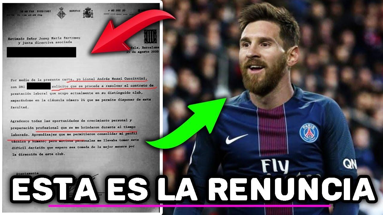 FILTRADO - Este es el BUROFAX donde MESSI RENUNCIA al Barcelona -¿Se va al PSG?