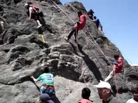 Guy falls off rock at Himalayan Mountaineering Institute