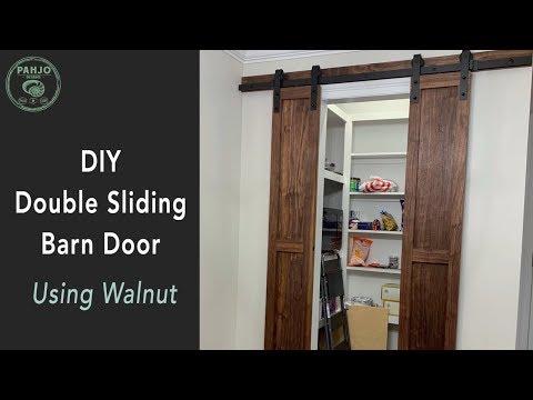 DIY Double Sliding Pantry Barn Doors using Rustic Walnut Wood