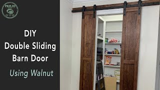 DIY Double Sliding Barn Door using Walnut Wood