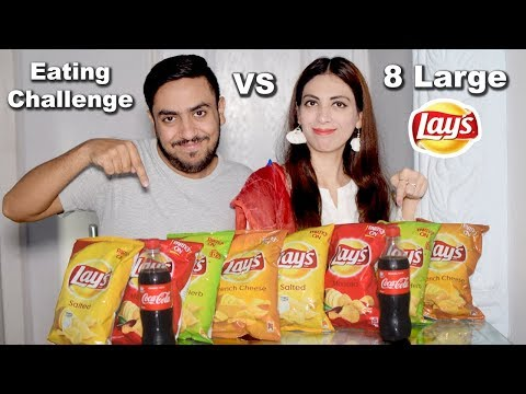8 Large Lays Chips Eating Challenge Sis Vs Bro | Food Eating Competition | Life With Amna