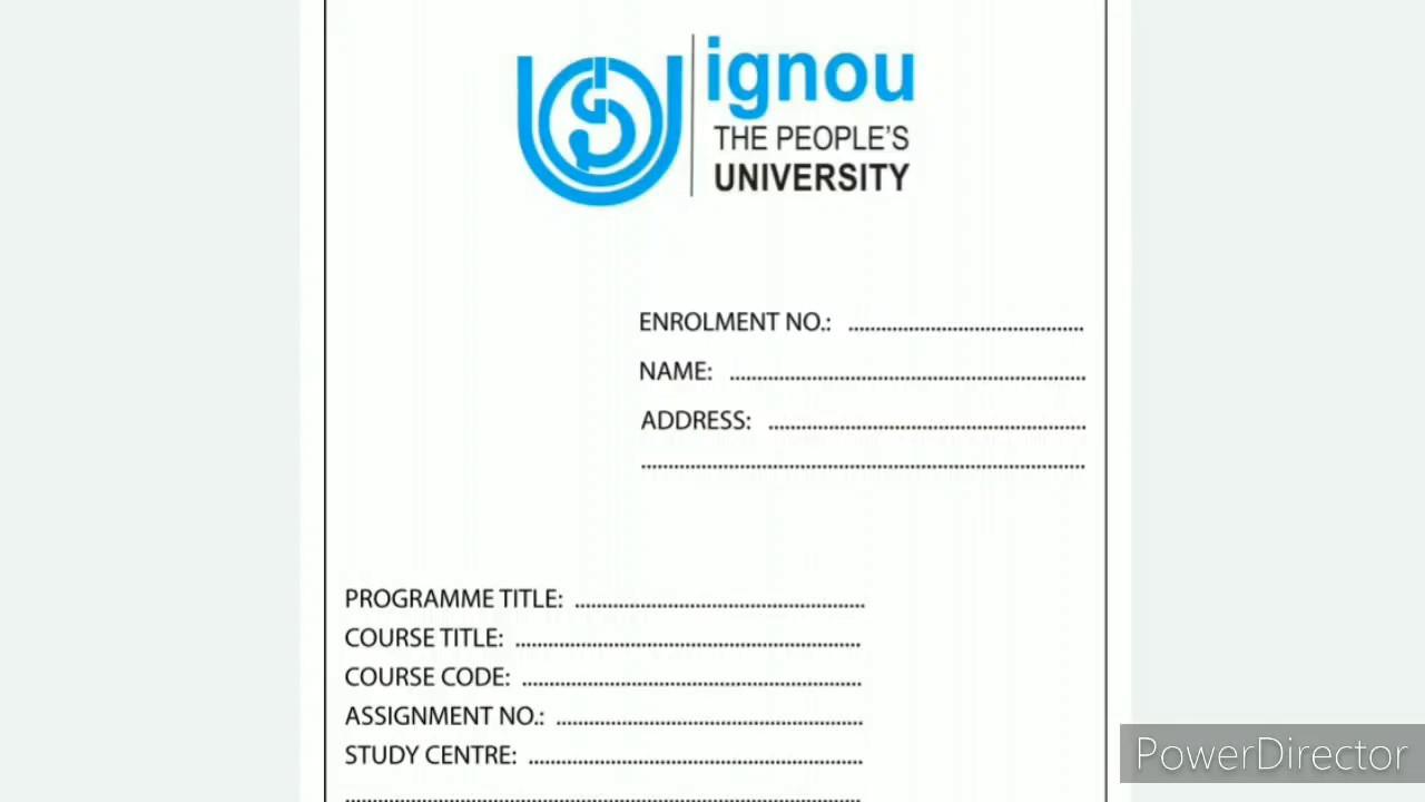 ignou assignment front page download  u0915 u0930 u0947