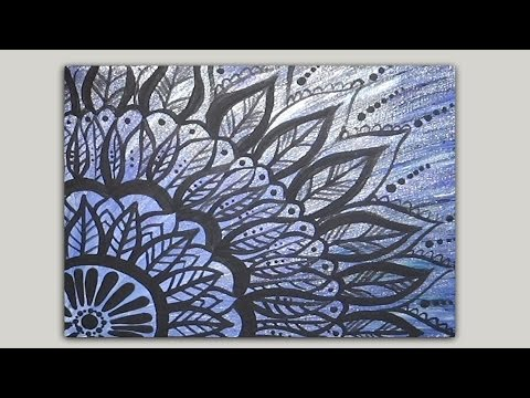 Painted Mandala Doodle Acrylic Painting on Canvas Part 1 of 2 ...