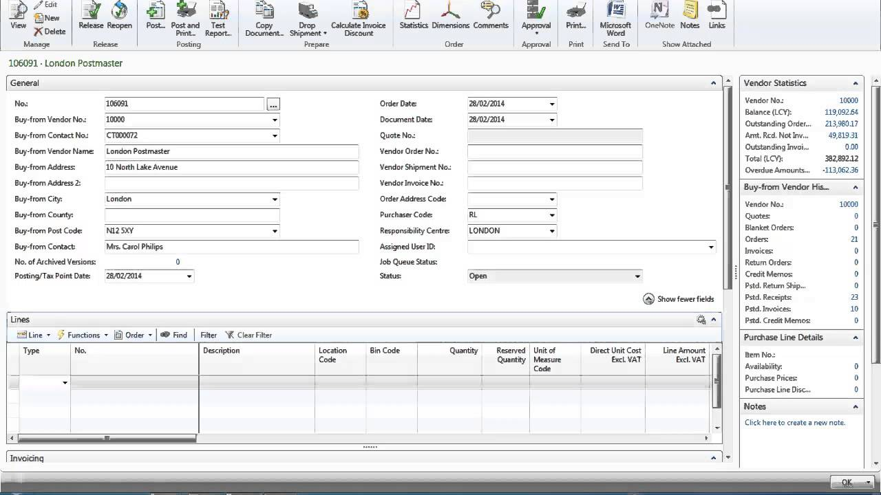 purchase order processing in microsoft dynamics nav 2013 youtube