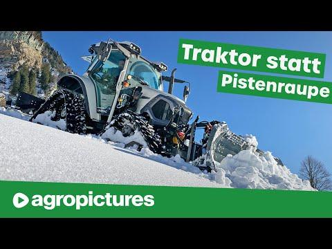 Traktor statt Pistenraupe fr die Loipe | Lindner Lintrac 90 mit Mller Loipenfrse und Rumschild
