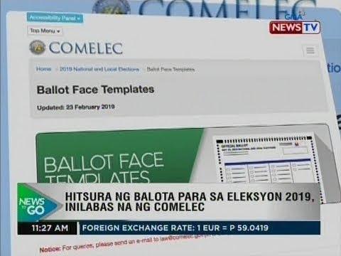 NTG: Hitsura ng balota para sa eleksyon 2019, inilabas na ng Comelec