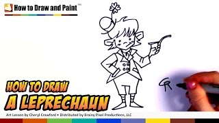 How to Draw a Leprechaun - Art for Kids - St. Patrick's Day Drawing Lesson - Part 1 CC