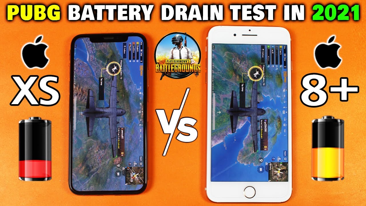 iPhone XS vs iPhone 8 Plus PUBG Battery Life Drain Test in 2021 - IOS 14.5 Battery Life Test 🤷♂️