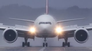 Turkish Airlines Boeing 777-300 bad weather Landing - Dual perspective (HD)