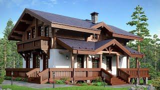 Проект дома в европейском стиле. Дом с мансардой террасой и балконами. Ремстройсервис М-191