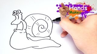 Easy How Ton Draw A Cartoon Snail For Kids