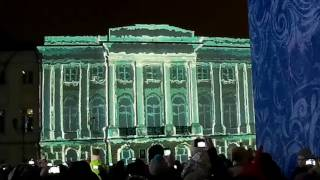 Новый год 2017 в Ярославле,  советской площадь, лазерное шоу на стене мэрии.