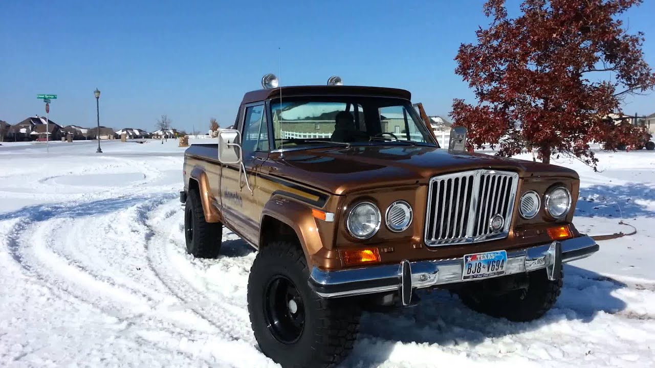 1978 jeep honcho in the tx snow - youtube