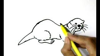 How to draw Otter  in  easy steps for children, kids, beginners