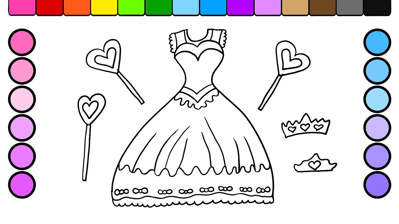 learn colors for kids and color beautiful princess dress coloring