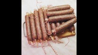 Домашняя сыровяленная колбаса из  лосятины и свинины