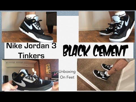 Jordan 3 Tinker Hatfield Black Cement NIKE Unboxing On feet Pics