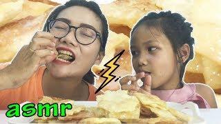 โรตีกรอบ ราดนมข้น |ASMR Eating | เสียงกิน | น้องใยไหม kids snook