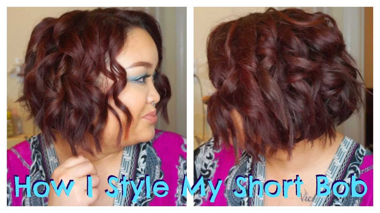 How I Curl Style My Short Bob Youtube