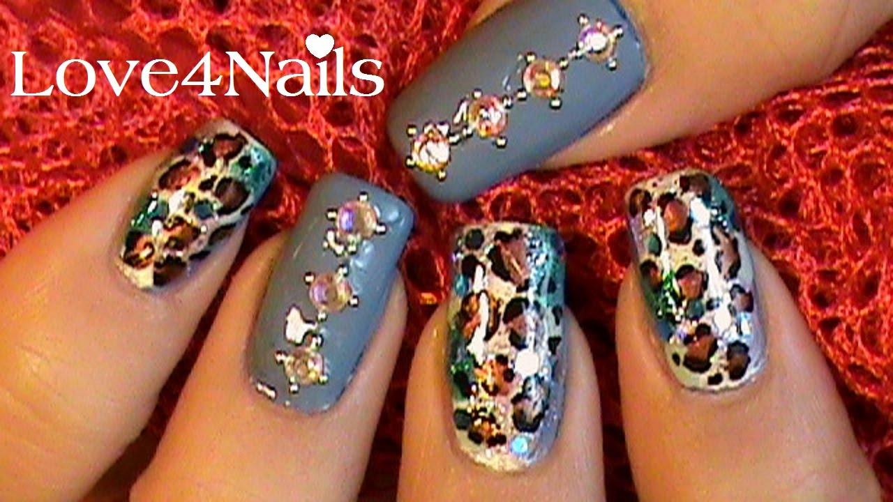 Crystal & Beads Nail Art Design - YouTube