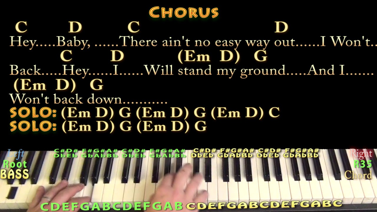 I wont back down tom petty piano cover lesson with chords i wont back down tom petty piano cover lesson with chordslyrics arpeggios hexwebz Image collections