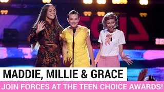 Maddie Ziegler, Millie Bobby Brown + Grace Vanderwaal FINALLY Join Forces at the Teen Choice Awards!