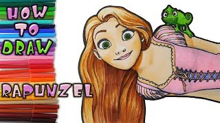 How to Draw Rapunzel and Pascal - learn to draw - drawing lessons - coloring pages