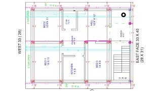 28 × 40 east face 3bhk plan centre line diagram