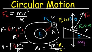 Centripetal Acceleration & Force - Circular Motion, Banked Curves, Static Friction, Physics Problems