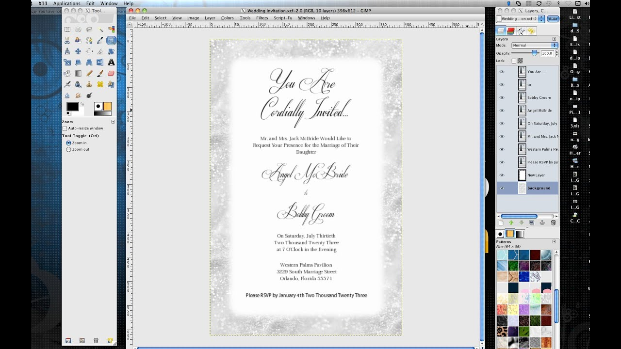How to Make Wedding Invitations in Gimp YouTube – Software for Making Cards and Invitations