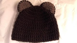 Repeat youtube video How  to crochet bear beanie (video one)