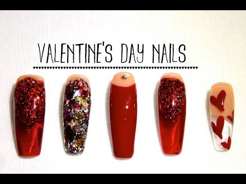 how to valentine's day acrylic nails ♥  youtube