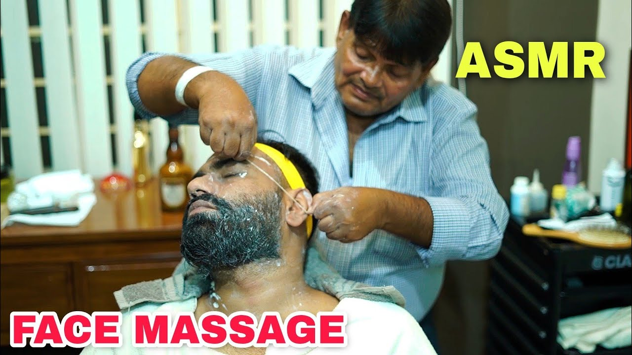 ASMR FACE MASAAGE | THREAD SKIN CLEANSING | FORE HEAD TAPPINGS BY INDIAN BARBER