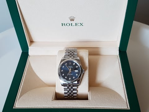 Rolex Datejust Mens Watch Unboxing & Review, Model 116234, Blue dial