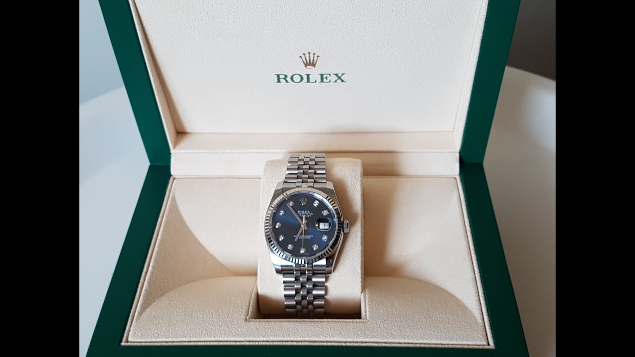 867400fcd77 Rolex Datejust Mens Watch Unboxing & Review, Model 116234, Blue dial ...