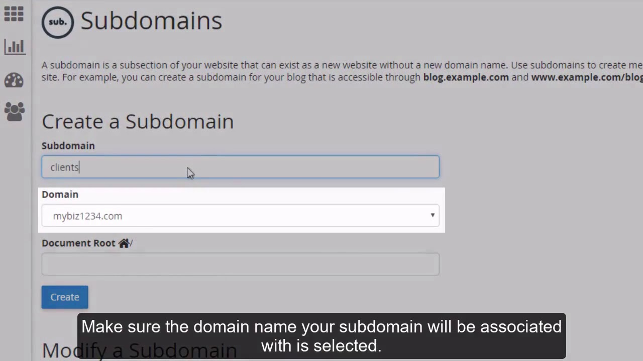 How to create a subdomain in cPanel?