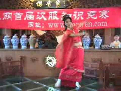 A pretty Chinese girl danced in a party( Han Chinese dress)