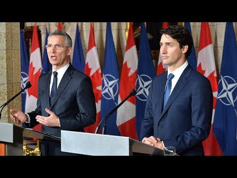 NATO Secretary General with the Prime Minister of Canada Justin Trudeau, 04 APR 2018