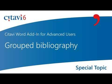 Citavi 6 Word Add-in: Grouped Bibliography (3.2)