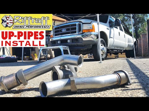 2001 F350 7.3 - RiffRaff Up-Pipes Install - Stock up pipes leaking and falling apart JUNK!!