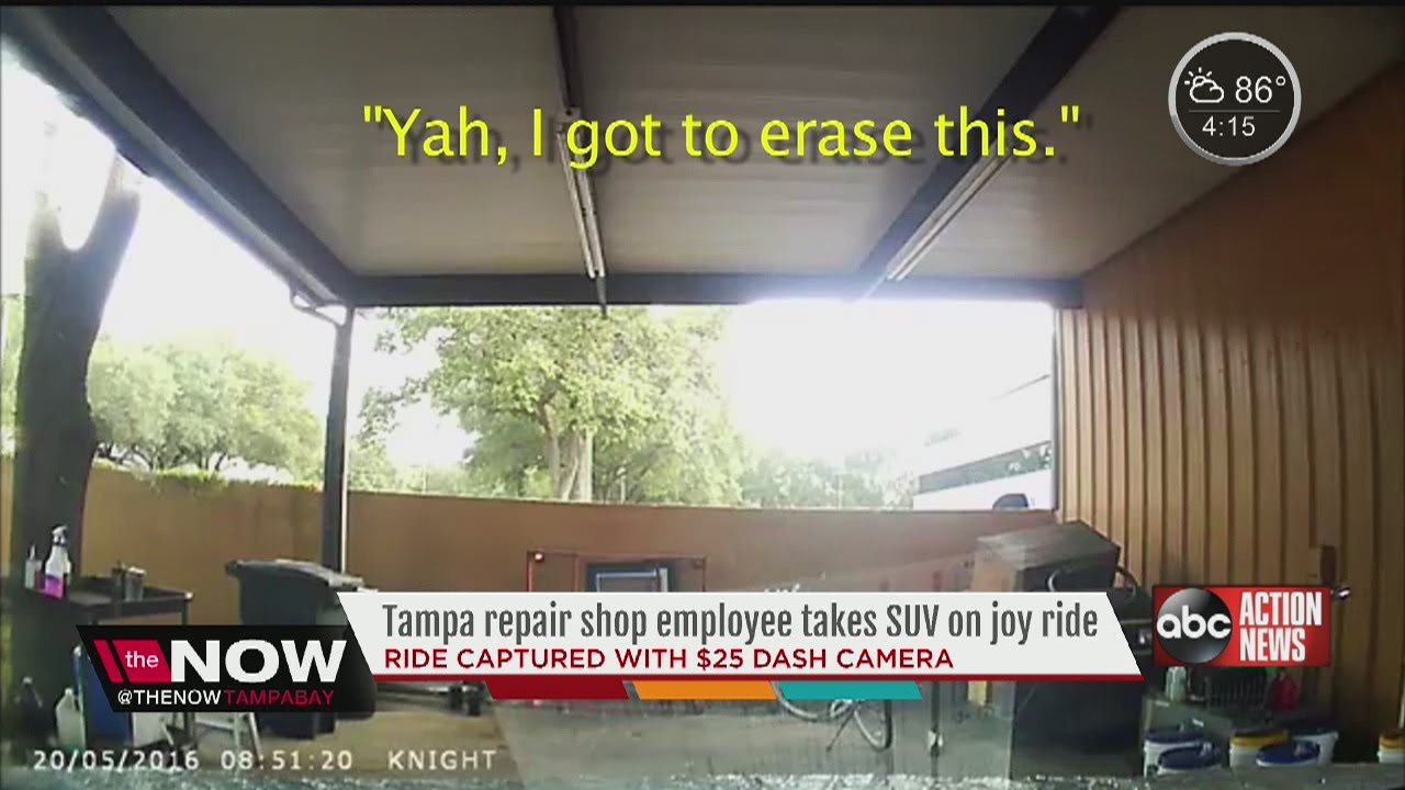 Owner's dash cam captures auto worker joy riding