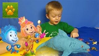 Морские Животные для Детей с Фиксиками Симка и Нолик  Детям про животных Видео для детей Lion Boy