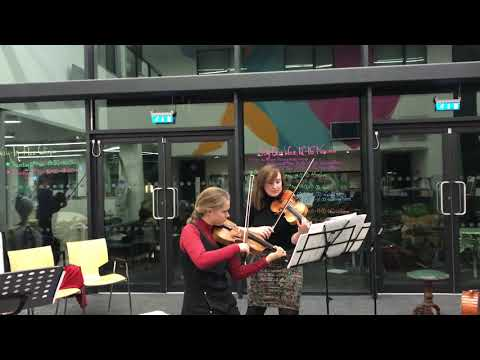 Violin duos in rehearsal for Music and Mind concert