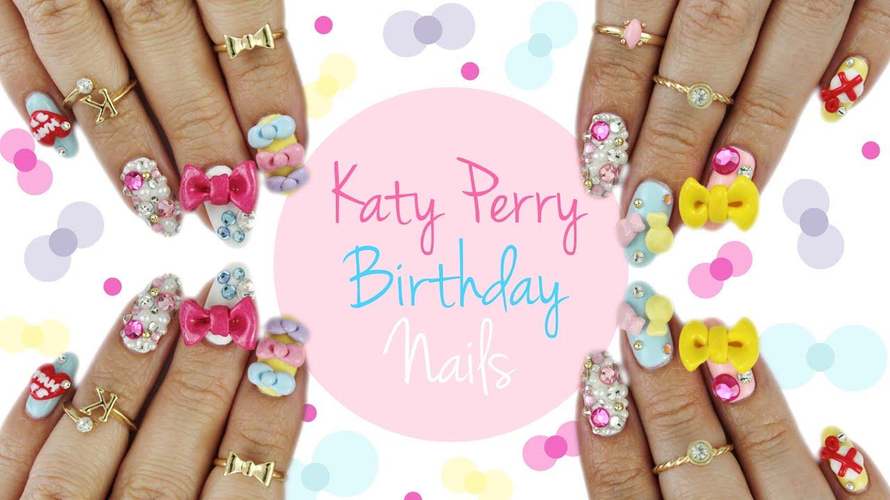 KKN recreates No.5| Katy Perry Birthday Nails - YouTube