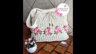 Bolsa Flor Cata Vento em Crochê