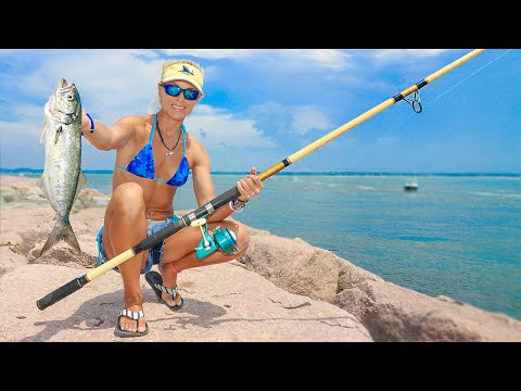 Girl Beach Fishing With HUGE Rod For New York Bluefish Video