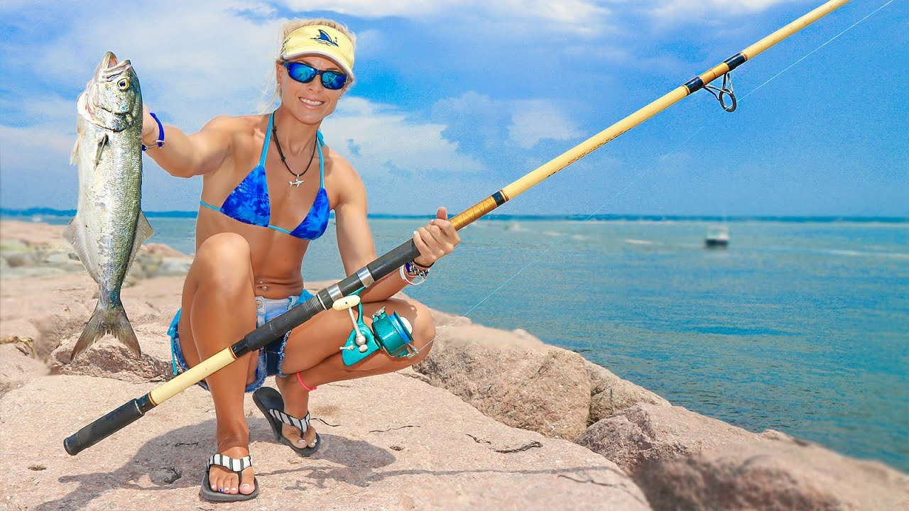Girl Beach Fishing with HUGE Rod for New York Bluefish Video - YouTube