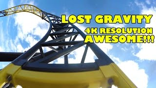 Lost Gravity Roller Coaster AWESOME 4K Ultra HD Front Seat POV Walibi Holland