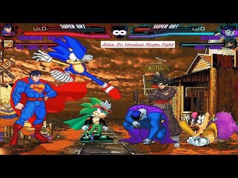 Mugen : Superman, Goku, Sonic & Super Mario Vs Bizarro, Goku Black, Scourge & Wario (Request)